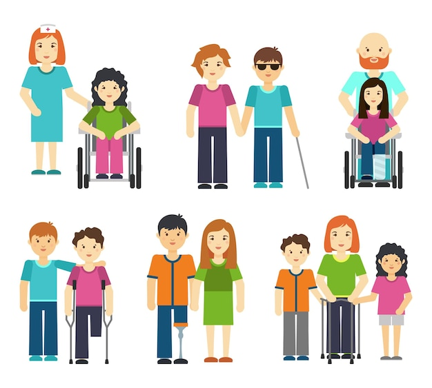 Disabled people with helping vector illustration