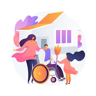 障害者の適応。社会的包摂、障害者のためのヘルスケア、家族の支援。車椅子で夫に挨拶する妻と子。