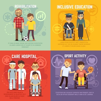 Disabled person care flat concepts set. inclusive education and sport active
