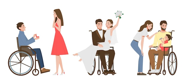 Disabled person character a man made a proposal to a girl a wedding a happy family flat  illustration set isolated on white background positive man with special needs in a wheelchair