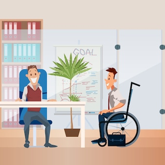 Disabled person employment flat vector concept