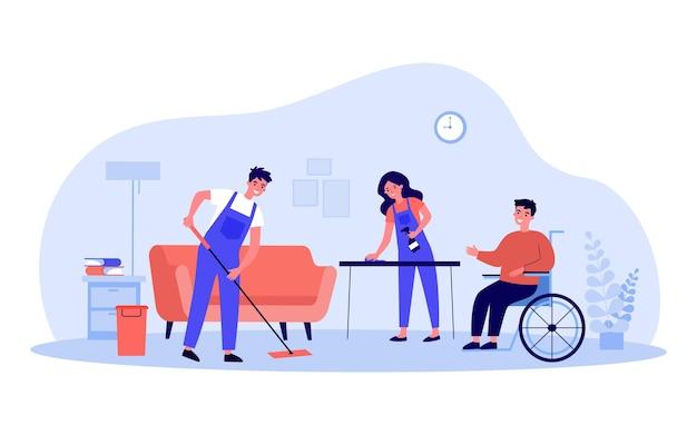 Инвалид в инвалидной коляске, пользующийся услугами клининговой компании. плоские векторные иллюстрации. люди в специальной форме профессионально убирают дом. чистота, обслуживание, помощь, концепция инвалидности