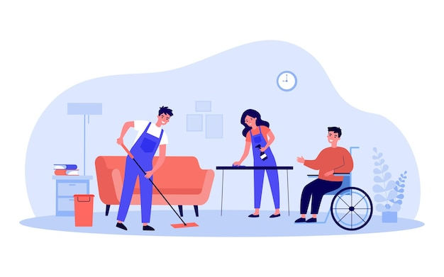Disabled person in wheelchair using services of cleaning company. flat vector illustration. people in special uniforms professionally cleaning house. cleanliness, service, help, disability concept