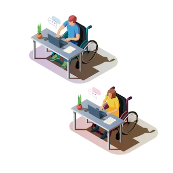 Disabled persons working together at the office illustration