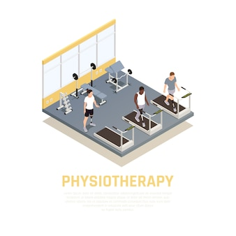 Disabled rehabilitation clinic isometric composition with training equipment for injured amputees with leg prothesis physiotherapy