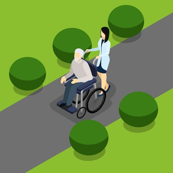Disabled retired people life isometric banner