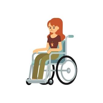 장애인 된 불행한 여자 또는 어린 소녀 흰색 배경에 고립 된 휠체어 평면 만화 캐릭터에 앉아. 장애인 희망이없는 사람들의 이미지.