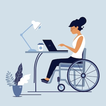 Disabled wheelchair woman working at laptop. handicapped woman at workplace. disabled people employment and social adaptation concept illustration