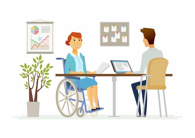 現代の漫画の人々のキャラクターのイラストのオフィスで障害のある女性