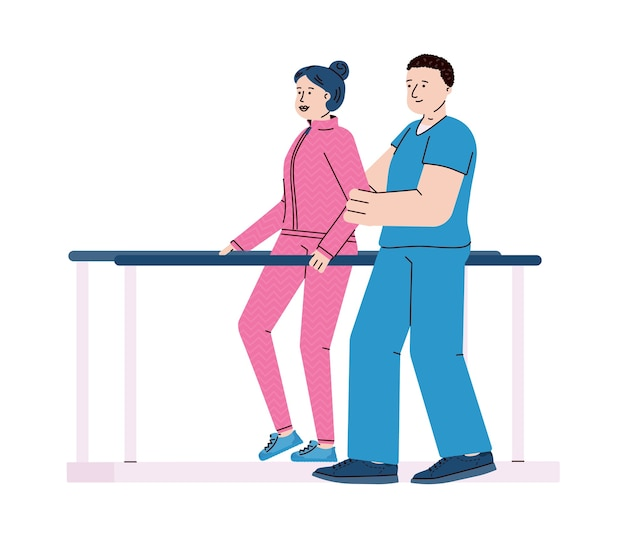 재활 클리닉, 흰색 배경에 고립 된 평면 만화에서 의료 재활을 극복 장애인 여자. 물리 치료 절차.