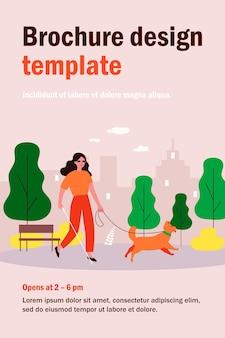 안내견과 함께 산책하는 장애인 된 여자. 도시 공원 평면 그림에서 지팡이와 맹인. 장애, 반려 동물, 치료 개념