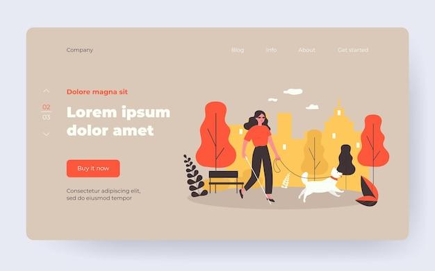 Женщина-инвалид гуляет с собакой-поводырем. слепой человек с тростью в городском парке плоской векторной иллюстрации. инвалидность, животные-компаньоны, концепция терапии для баннера, дизайн веб-сайта или целевой веб-страницы