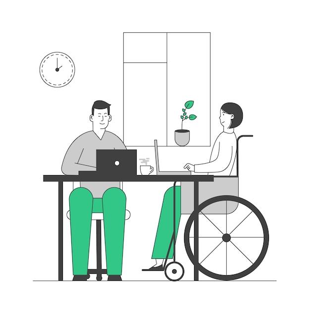 Молодая женщина-инвалид в инвалидной коляске, работающая в офисе со здоровым коллегой