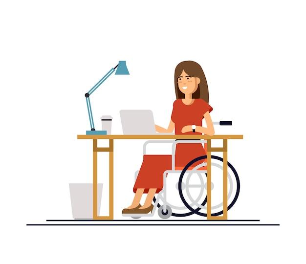 사무실에서 컴퓨터를 사용하는 휠체어에 장애인 된 젊은 여자. 온라인 직업