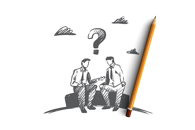 불일치, 비즈니스, 사람, 갈등 개념. 손으로 그린 사업가 작업 문제 개념 스케치를 논의합니다.