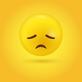 Disappointed emoji character with sad face -  grief stress regret emoticon - 3d character