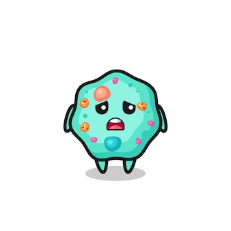Disappointed expression of the amoeba cartoon , cute style design for t shirt, sticker, logo element Premium Vector