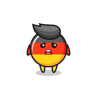 Disappointed expression of the germany flag badge cartoon , cute style design for t shirt, sticker, logo element