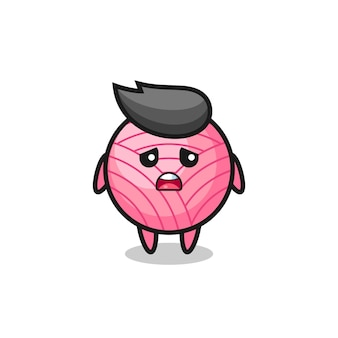 Disappointed expression of the yarn ball cartoon , cute style design for t shirt, sticker, logo element