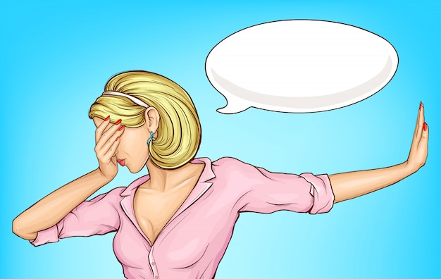 Disappointed woman making facepalm cartoon
