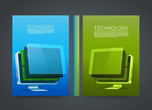 Disassembled computer in the cover. flyer a4 technology. vector illustration