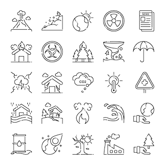 Disaster icon pack, with outline icon style