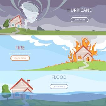 Погода баннеры стихийных бедствий. вулкан цунами ветер шторм дождь дом ущерб от осветления векторных изображений с местом для текста