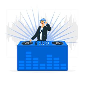 Illustrazione di concetto del disc jockey