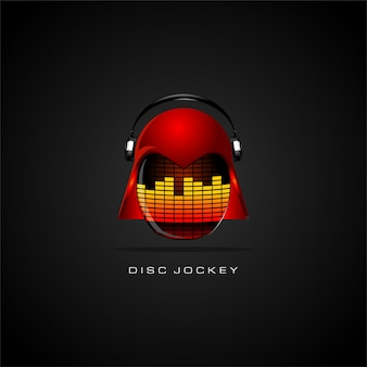 Disc jockey logo design with helmets and headset