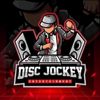 디스크 자키 마스코트 esport 로고 디자인