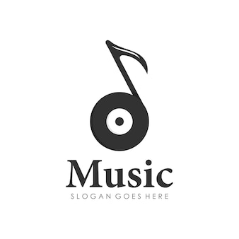 Disc music play note melody logo design