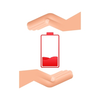 Discharged battery with hands. set of battery charge level indicators. vector illustration.