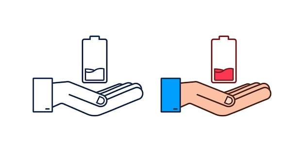 Разряженный аккумулятор руками. набор индикаторов уровня заряда аккумулятора. векторная иллюстрация.