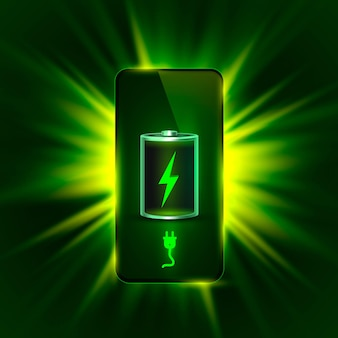 Discharged and fully charged battery phone. vector illustration. white background