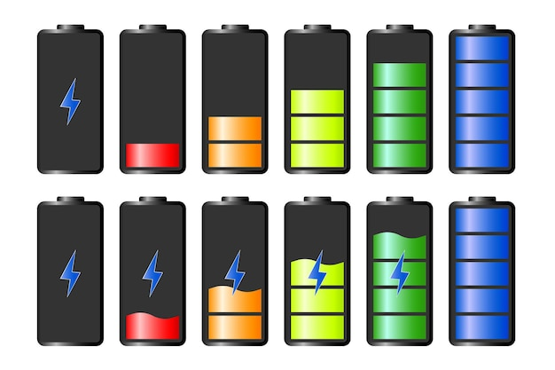 Discharged and fully charged battery smartphone. battery charge indicator icons. vector graphics.