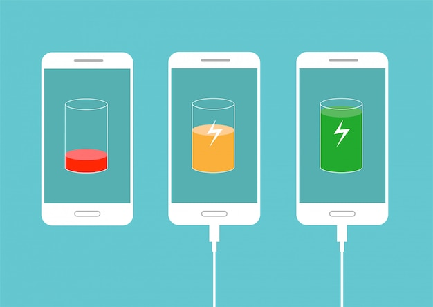 Discharged and fully charged battery smartphone. phone charging. set of battery charge level indicators. illustration isolated on blue background.