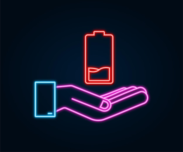 Discharged neon battery with hands. set of battery charge level indicators. vector illustration.