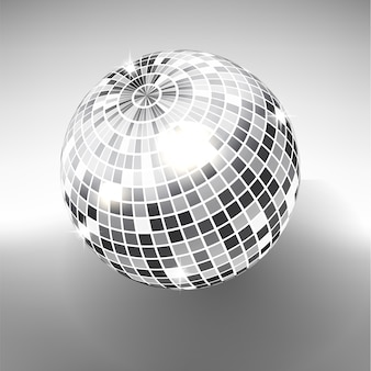 Disco ball isolated on grayscale background. night club party light element. bright mirror silver ball design for disco dance club.