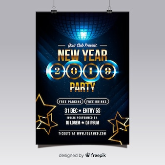 Disco ball new year party poster