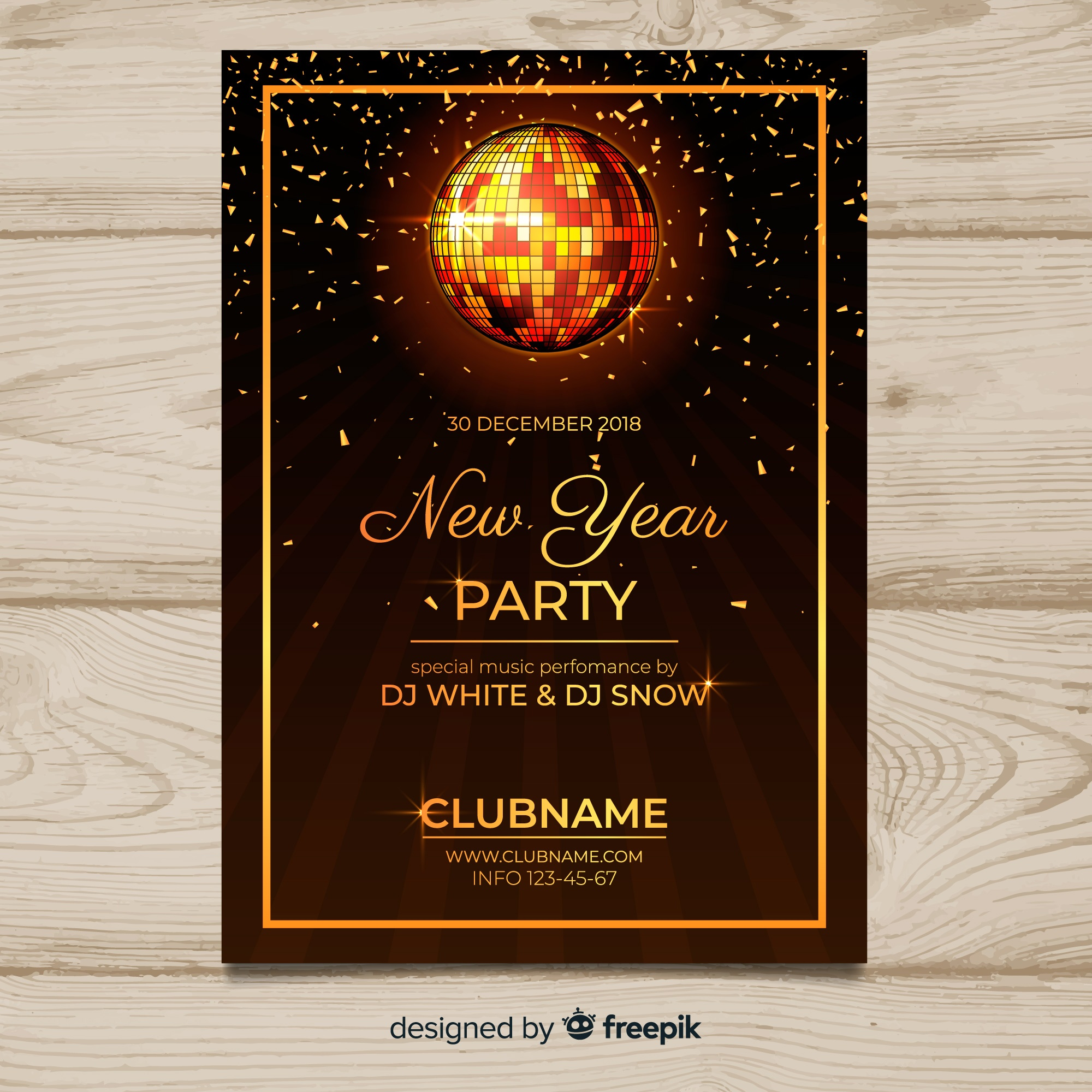 Disco ball new year poster template