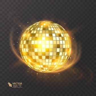 孤立した背景のディスコボール。ナイトクラブパーティーの軽い要素。ディスコダンスクラブのための明るいミラーボールのデザイン。