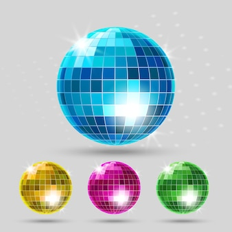 Disco ball set. club sphere, reflection shiny, dance entertainment.