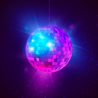 Disco ball with bright rays and bokeh. music and dance night party background. abstract night club retro background illustration