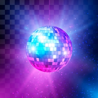 Disco ball with bright rays and bokeh. night club retro background 80s.