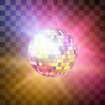 Disco ball with bright rays on transparent background, night party retro background.  illustration  on transparent background