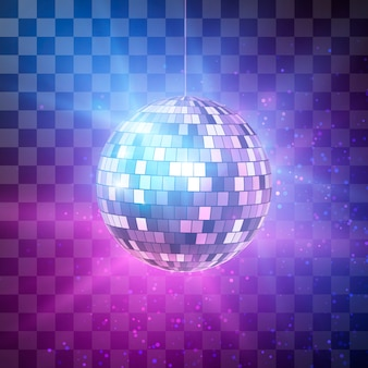 Disco ball with bright rays on transparent background, night party retro background.  illustration
