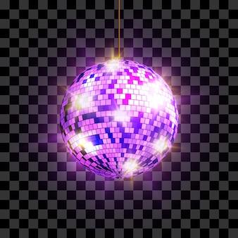 Диско-шар с световыми лучами, изолированные на прозрачном фоне