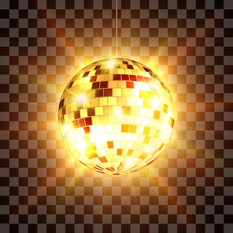Disco ball with light rays isolated on transparent background