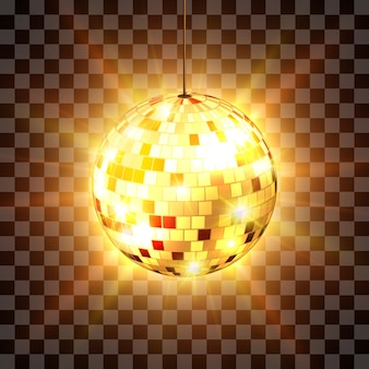 Disco ball with light rays  on transparent background.  illustration.