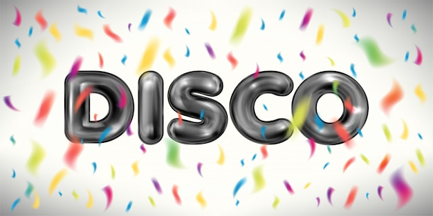 Disco banner with confetti